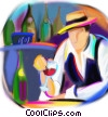 man having wine with dinner Fine Art illustration