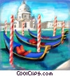 gondolas in Venice with Santa Maria della Salute Fine Art illustration