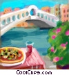Fine Art illustration  of a Rialto Bridge Venice Italy