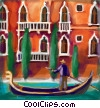 Stock Art picture  of a Venetian man in his gondola in