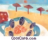 Fine Art graphic  of a having lunch in front of the