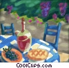 Stock Art picture  of a caf� setting with wine and
