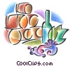 wine barrels and bottle of wine Stock Art graphic