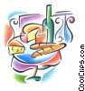 French wine and cheese clip art