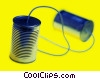 two tin cans tied together Stock photo