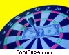 dartboard with $ bill at bulls eye, pinned with a dart Stock photo