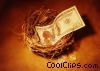 money in a birds nest Stock photo