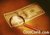 Stock photo  of a $ bill under a magnifying