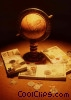 globe with stacks currencies and coins Stock photo