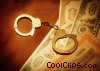 stock certificates and handcuffs Stock photo