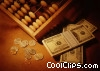 abacus , coins, stacks of bills Stock photo