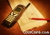 cellular phone on stock page Stock photo