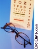 Stock photo  of a eye chart with glasses