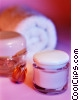 rolled white towel, eye gel mask and small jar Stock photo