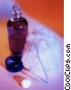 bottle of oil loofah and candle Stock photo