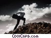 businessman climbing hill (sample image) Stock photo