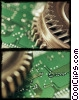 Stock photo  of a gear with a computer chip