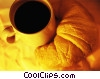 Stock photo  of a cup of coffee and a croissant