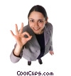 businesswoman giving ok sign Stock photo