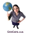 Stock photo  of a woman spinning a globe on her