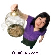 woman with a bird cage Stock photo