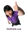 woman giving a thumbs up Stock photo