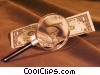 magnifying glass and a dollar bill Stock photo