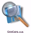 floppy disk with magnifying glass Stock photo