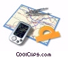 map with GPS, compass and protractor Stock photo