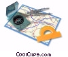 Stock photo  of a map with compass and