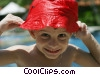 Stock photo  of a Boy with a wet hat