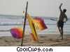 kite flying at the beach Stock photo