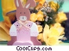 Easter bunny and flowers Stock photo