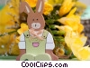 Stock photo  of a easter bunny and flowers