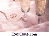 champagne glasses and wedding rings Stock photo