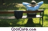 Stock photo  of a businessman relaxing on a park