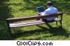 man working in the park on his notebook Stock photo