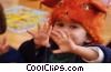 child in mouse costume at nursery school Stock photo
