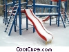winter scene with playground equipment Stock photo