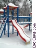 Stock photo  of a winter scene with playground