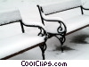 winter scene with snow on benches Stock photo