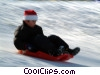 winter fun sliding Stock photo