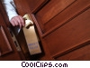 businessman attaching do no disturb sign Stock photo