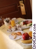 breakfast tray at hotel door Stock photo