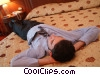 businessman relaxing in his bed Stock photo