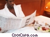 businessman having breakfast in bed Stock photo