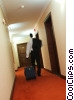 businessman leaving his hotel room Stock photo
