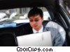 man working on his computer in a limo Stock photo