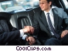 businessmen shaking hands in a  limousine Stock photo