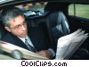 businessmen reading the paper in a  limousine Stock photo